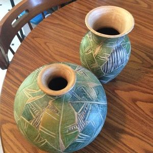 Pier 1 set of two vases green NWT +